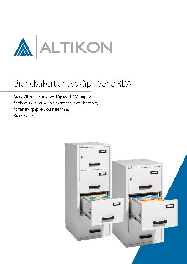 Produktblad Brandsäkert Arkivskåp RBA - framsida, pdf